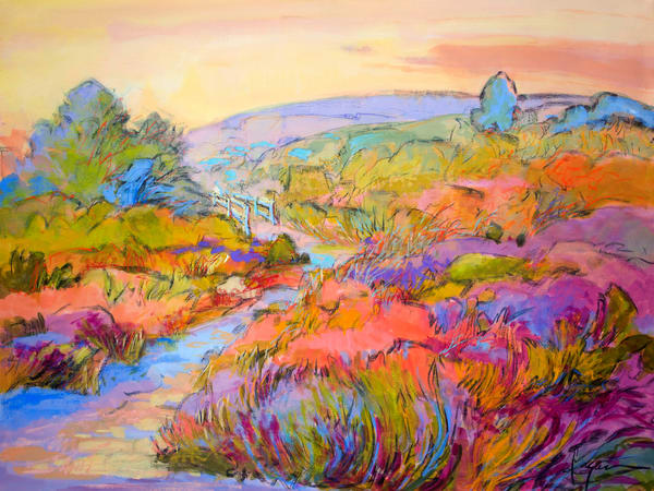 Colorful Abstract Landscape Garden Art Print on Canvas or Paper, The Meadow by Dorothy Fagan