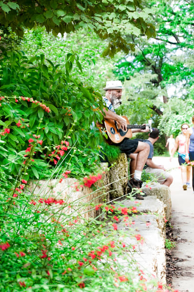 Woody Wood on Austin Trails playing guitar for fun and donation