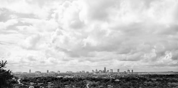 View of Austin from Bonnell Hill, bw