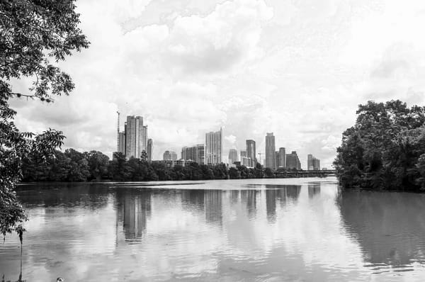 Skyline of Downtown from the Lake, BW