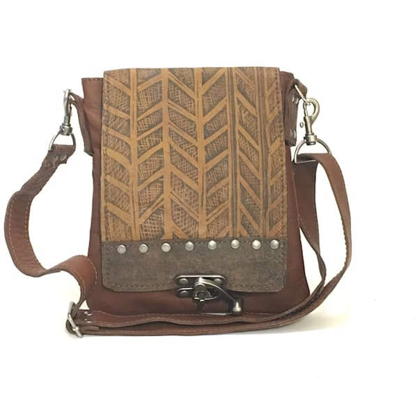 leeds small messenger herringbone print