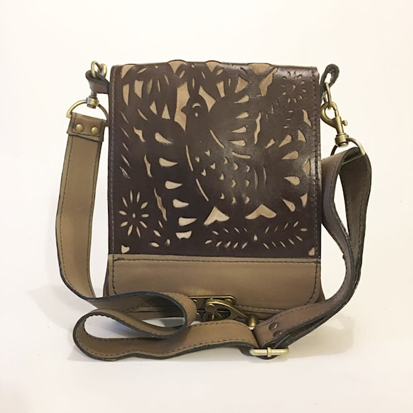 leeds leather messenger mexican bird