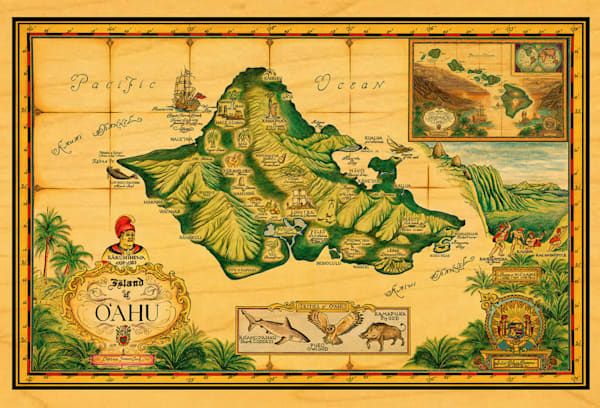Wood Postcards | Map of Oahu