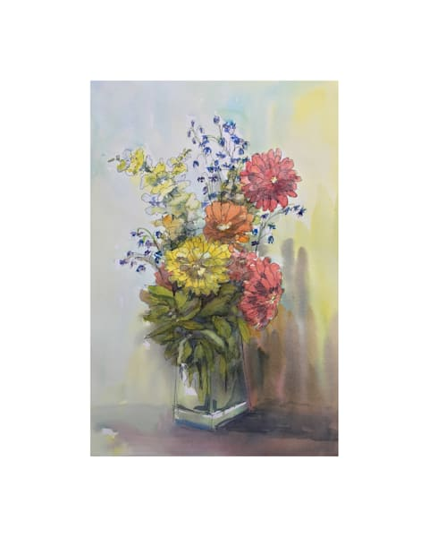 8x10 Summer Zinnias On Paper | HFA print gallery
