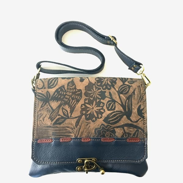uptown bag in navy with sparrow print
