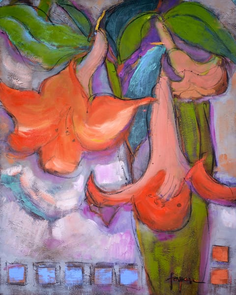 Colorful Abstract Lilies Painting, Art Print | Lyric Dance II by Dorothy Fagan