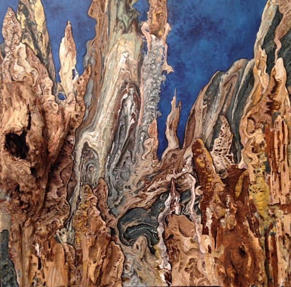 gayle-faulkner, abstract, representational, mountains, 3D, depth, mixed-media, acrylic, pouring, landscape