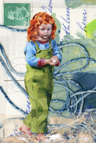 Artwork: Little girl with red hair painted against a abstract collage background.