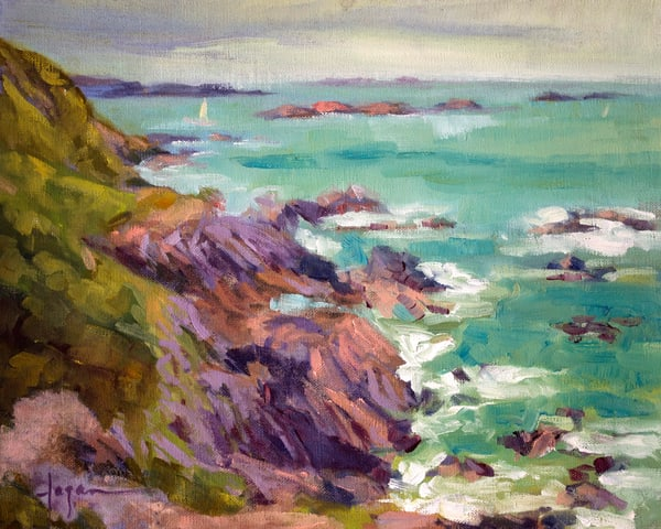French Coast Landscape Art Print on Canvas or Watercolor Paper, Ile du Petit Chevret by Dorothy Fagan
