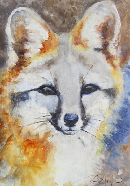 The Hunt Grey Fox Animal Painting by Sarah B. Hansen