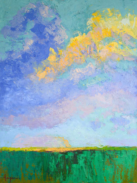Beautiful Clouds Painting Art Print on Canvas, Touching the Sky by Dorothy Fagan