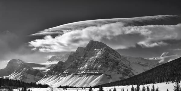 A halo of sculpted cloud over Crowfoot Mt.|Banff National Park|Canadian Rockies|Rocky Mountains|