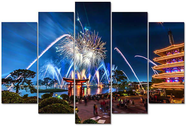 Epcot Fireworks Spectacular 4 - Disney Panel Art | William Drew
