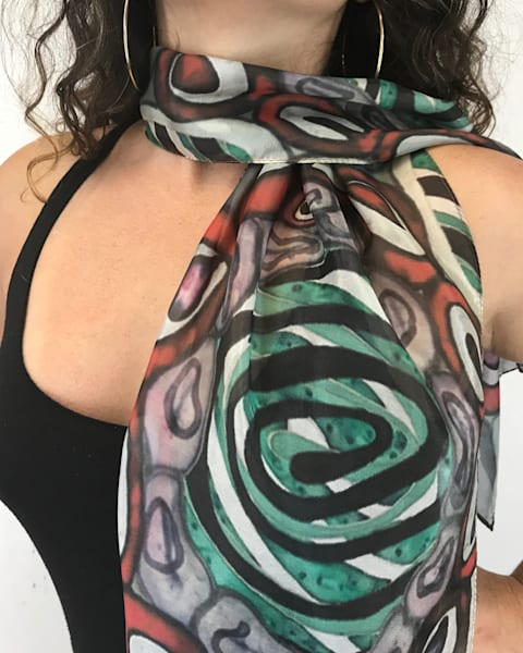 Rainbow Swirl Silk Scarf