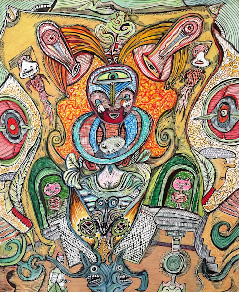 Bart Johnson Area 52 Art Print Drawing Painting Psychedelic Visionary Outsider, Sacred, Metaphysical