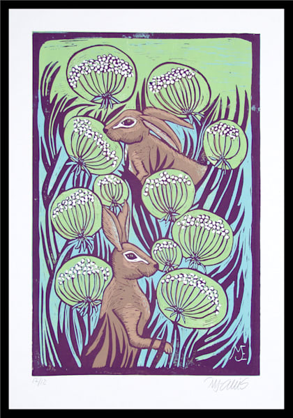 a blue and green linocut with two hares, queen anne lace and countryside, landscape, by Printmaker Mariann Johansen-Ellis, art, paintings