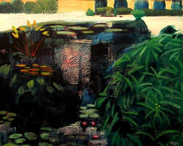 Longwood Waterlilies Path of Life 7 Large Encaustic Wax Landscape Painting