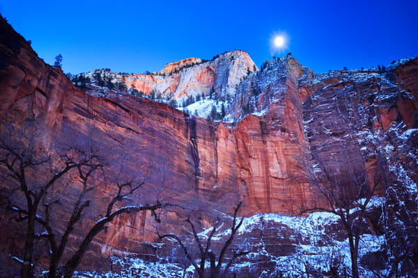 Zion Winter Moon Art Prints