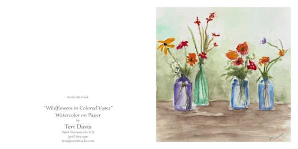 5x7 Wildflowers In Colored Vases Card | HFA print gallery