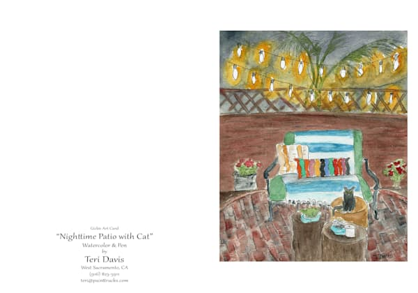 Nighttime Patio With Cat Card | HFA print gallery