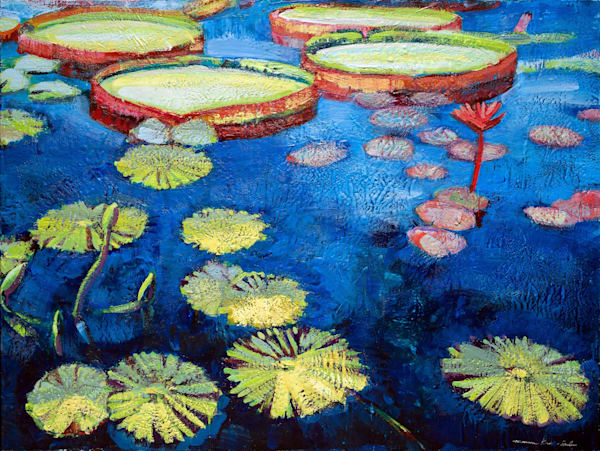 Longwood waterlilies 12 Large Encaustic Wax painting expressionist Impressionist