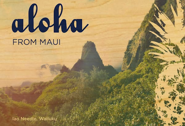 Wood Postcards | Maui Iao Needle