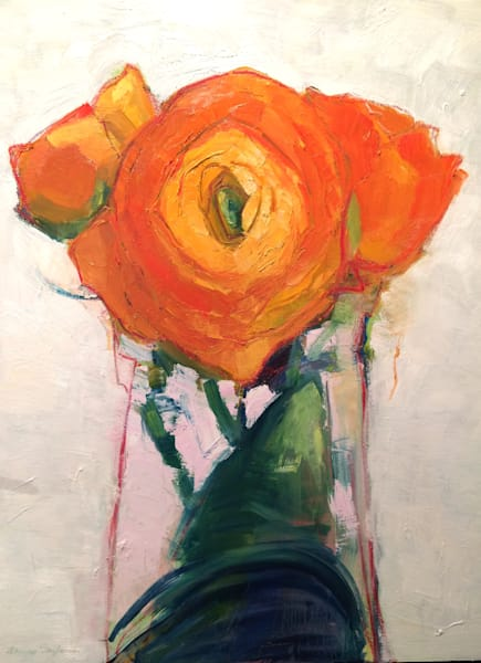 Still Life With Orange Ranunculus Flower Trio in antique French milk  bottle oil painting  on wood impressionist.