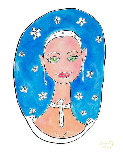 Pretty Girl With Flowers In Her Hair Art | Sandy Garnett Studio
