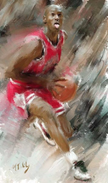 Sports Artist Mark Trubisky.  Limited Edition print of Michael Jordan ready to go skyward available for sale.