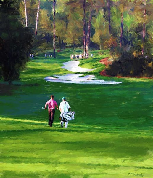 Sports artist Mark Trubisky's limited edition print of Master's golf play for sale.  Embellished artist canvas.