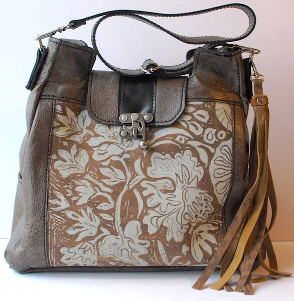 large leather tote smokey grey with lily print