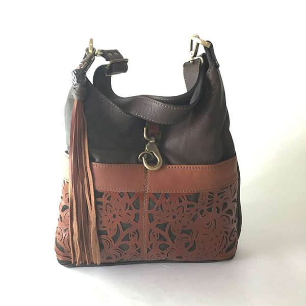 leather tote in dark grey with koi motif