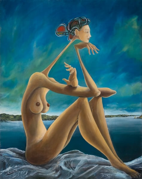 Woman On Rocks Art | Sandy Garnett Studio