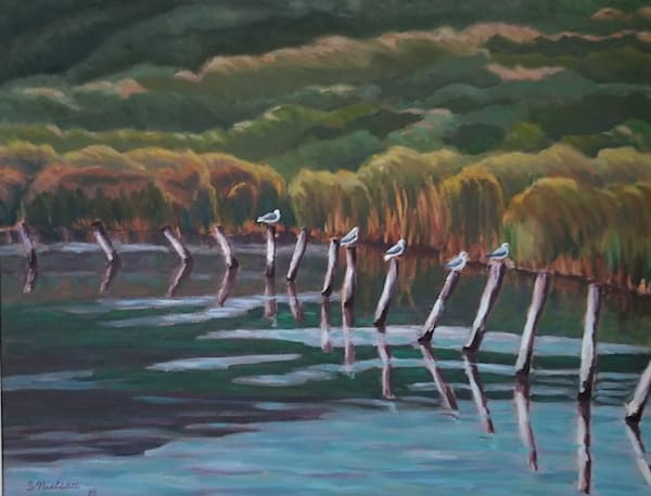 Birds resting on posts, original painting by artist Sherry Nielsen