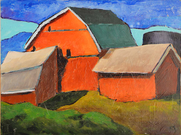 Perkinsfield barn painted in acrylic