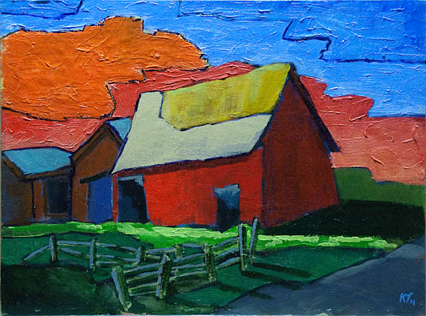 Red barn orange sky