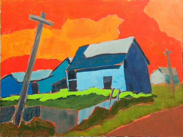 Blue barn red sky