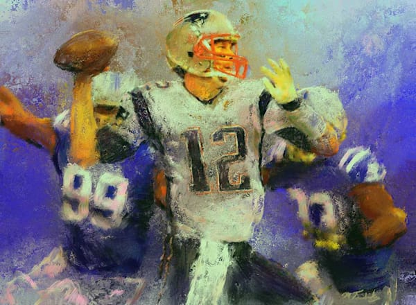 Sports Artist Mark Trubisky's limited edition canvas of Tom Brady for sale.  Artist embellished canvas.