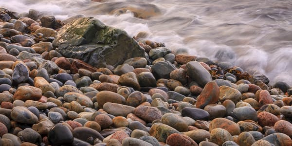 Beach Wall Art: Waves and Smooth Stones
