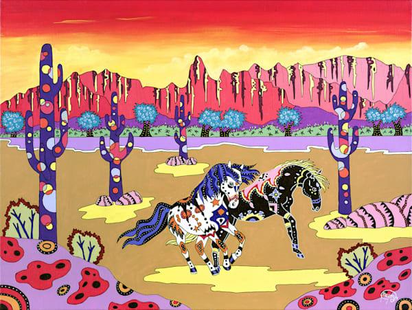 The original piece of art: Playful Horses