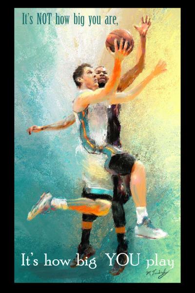 Poster of layup on basketball court | Sports artist Mark Trubisky | Custom Sports Art