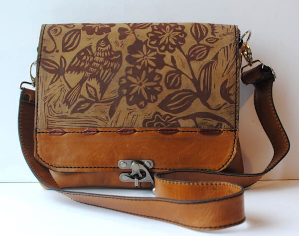 medium leather messenger in caramel with sparrow print