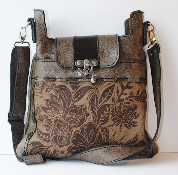 medium leather cross body bag peony print