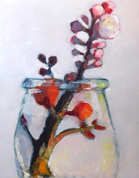 "Still life with red quince flowers apricot blooms. Oil painting on wood cradleboard 30""x24""x1.5"". Unframed with painting extending around the sides."