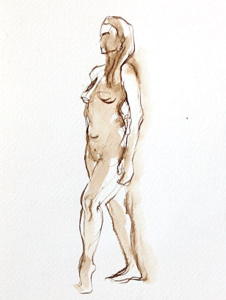 Female Nude Figure Drawing Shelf Art Decor