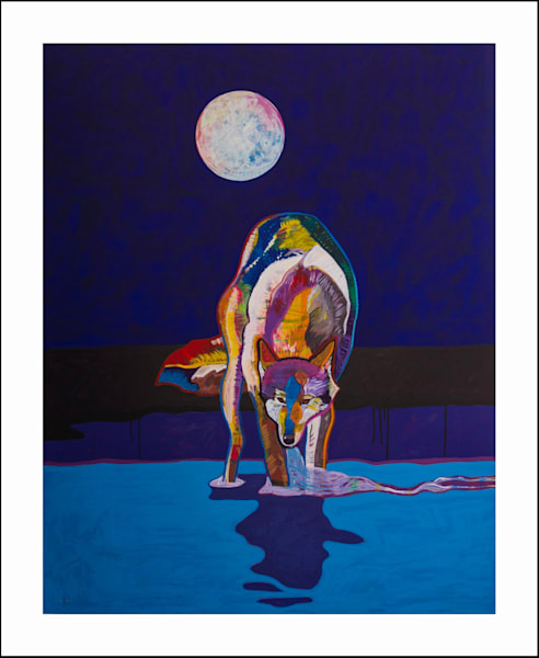 Wolf Drinking Water by Moonlight | John Nieto Art Limited Edition Serigraph