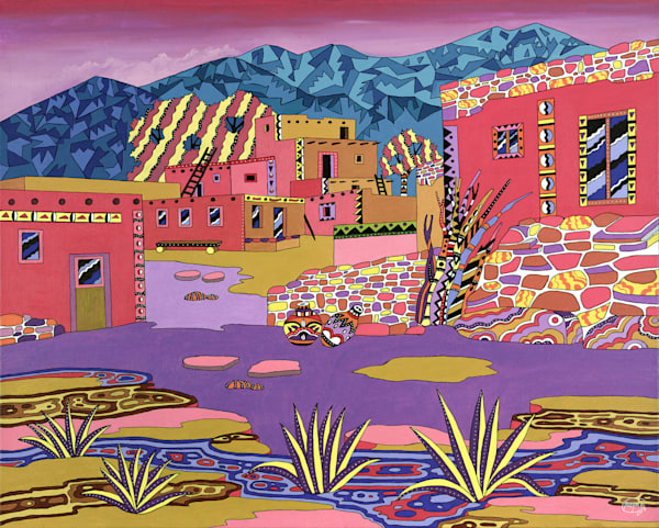 Original acrylic painting on canvas called ''Hopi Village''