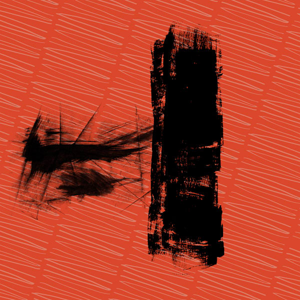 Red and Black Rollover Zen abstract art painting for sale by Grimalkin Studio