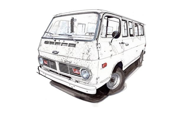 67 chevy van white