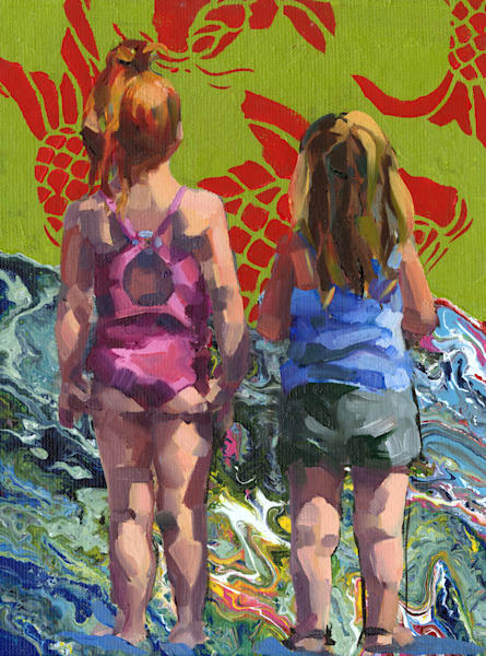 Contemporary oil painting of two girls at the seaside with green and red fish.